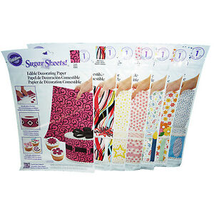 7pk-Wilton-Edible-Sugar-Sheets-Cake-Decorating-Paper-Scrolls-Stars-Dots-Floral