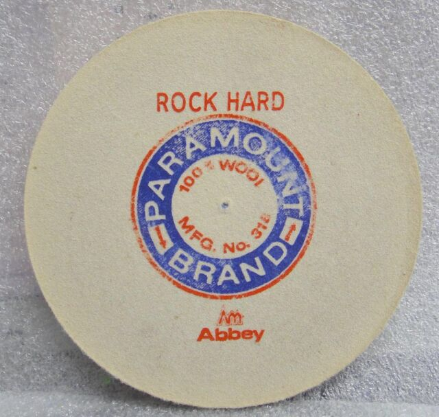 "4"" DIA 1/4"" WIDE ROCK HARD PARAMOUNT FELT WHEEL BUFF PIN HOLE POLISHING BUFFING"