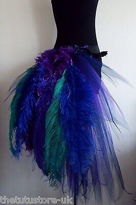 NeW Purple Navy Blue Peacock Burlesque Bustle Belt Feather XS S M L Sexy Tutu