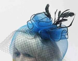 Large-Wedding-Fascinator-Hat-Hair-Clip-Headband-Blue-Green-Gray-Black-Choices