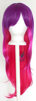 28'' Long Straight Layered Fade Purple to Pink Cosplay Wig