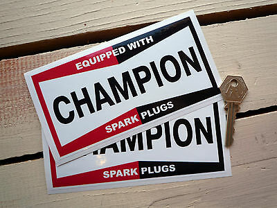 """Champion Spark Plugs 6"""" oblong sticker -'Equipped with'"""