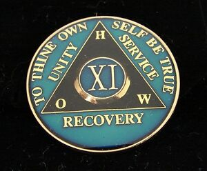 11 Year Alcoholics Anonymous Blue AA Medallion Coin Chip Token Sobriety Sober
