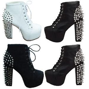 Womens-Spike-Studded-High-Cuban-Heels-Platform-Clog-Lace-Up-Punk-Ankle-Boot-Shoe