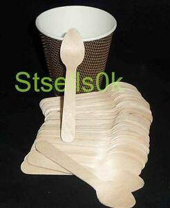 100-TEASPOONS-DISPOSABLE-PARTY-MINI-SPOON-WOODEN-CUTLERY-ECO-PICNIC-CATERING
