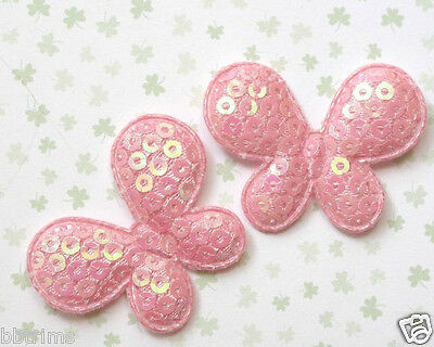"""36 x 1.5"""" L. PINK Padded Shiny Sequined Felt BUTTERFLY Appliques for Bows ST242P"""