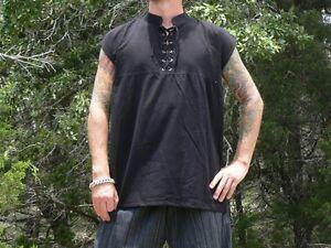 Small-Sleeveless-Cotton-Renaissance-Shirt-Lace-Up-Pirate-Medieval-Costume-Black