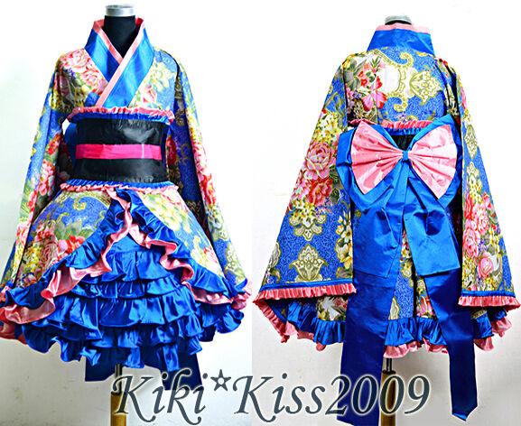 China Gothic Lolita Waloli Blue-Pink Flower Cake Dress Cosplay Halloween Kimono