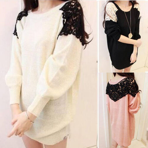 Neu Damen Pullover Pulli Knitwear Stretch Rundhals Langärmeliges Lace Shoulder