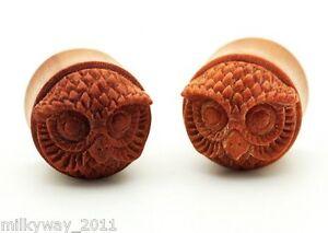 PAIR-OF-Sawo-Wood-Hand-Carved-Owl-Ear-Gauge-Plug-Organic-Double-Flare-Tribal