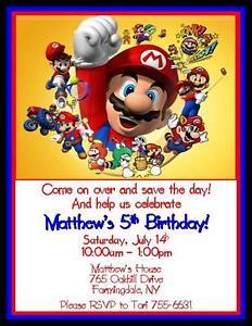 Mario Brothers Birthday Invitations