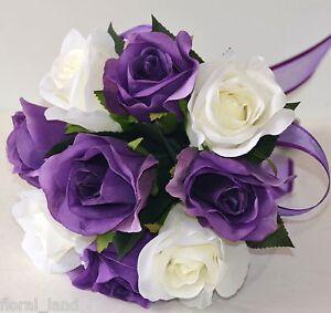 Image Is Loading Silk Wedding Bouquet Purple Cream White Rose Posy