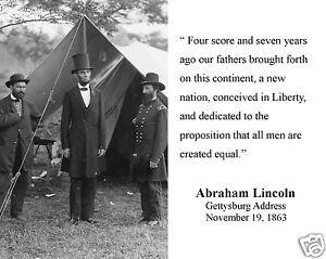 "Abraham Lincoln "" four score"" Gettysburg Address Quote 8 ..."