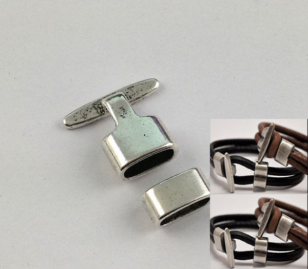 5Sets of Antiqued Silver Hook Clasps for 10x5mm leather FC15510