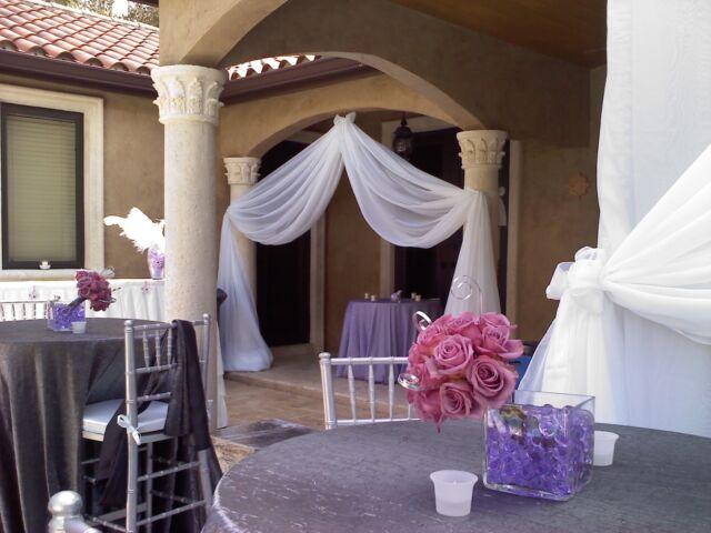 "Wedding Drapes  panels 12'x114"" white, ivory, black, fuchsia for backdrop,"