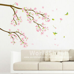 Pink japanese apricot flower home decor mural art for Decoration adhesif mural