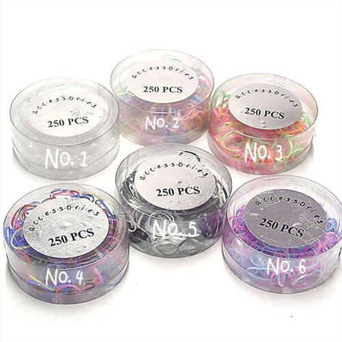 1x 250 Hair Elastics Rubber Bands Braids Plaits - Choose your Colour
