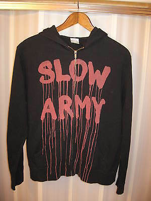 Slow Army APX By Independent Trading Company Black Zip Front Hoodie Sweatshirt L