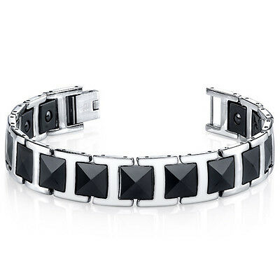 Mens Faceted Black Ceramic and Stainless Steel Bracelet