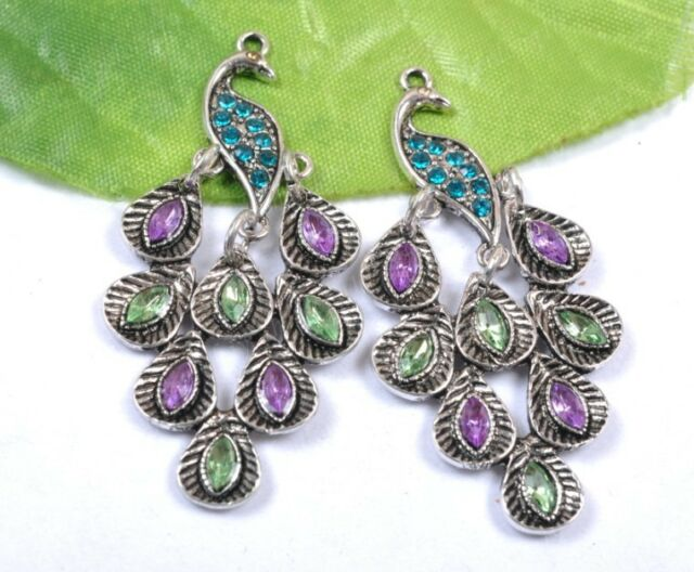 2PCS Tibetan Silver Couple Peacock Crystal Charms Pendants 47MM SH1065