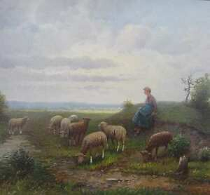 Rosend-F-um-1890-Pseudonym-Karl-Kaufmann-SCHAFE-HIRTIN-Schaf-pastoral-ART
