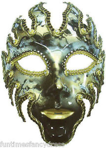 Devil-Mens-Black-Gold-Glazed-Venetian-Mask-Masked-Ball-Masquerade