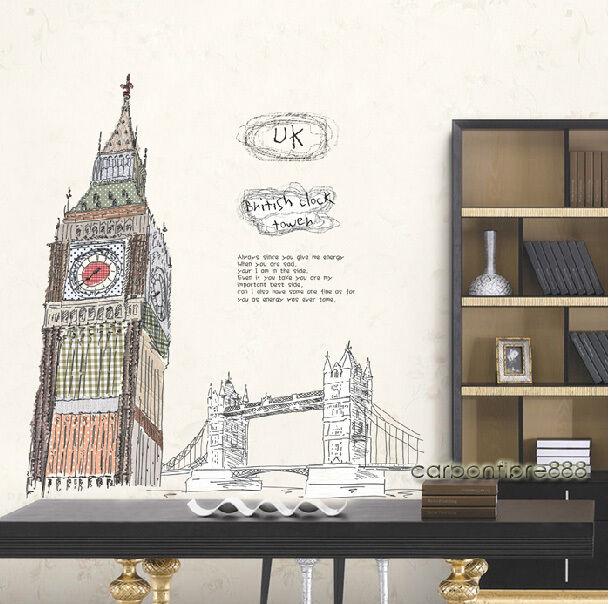 Huge BIG BEN TOWER BRIDGE LONDON Wall Stickers GB Vinyl Art Decal Office Home