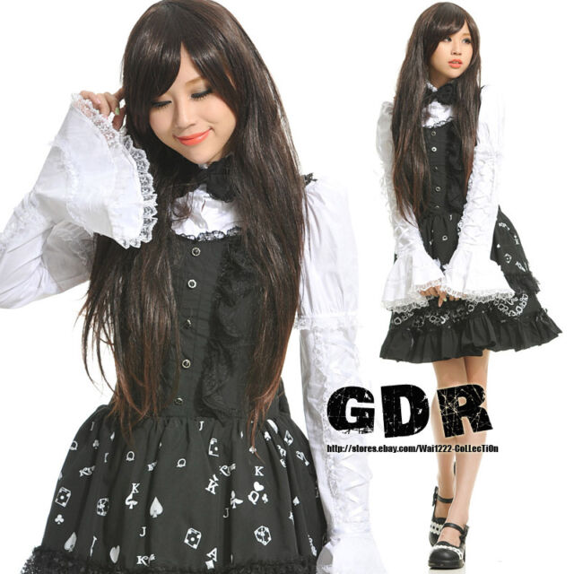 FreeShip X GOTHIC PUNK LOLITA ALICE 81099 MAIN BLACK DRESS +SHIRT S-L