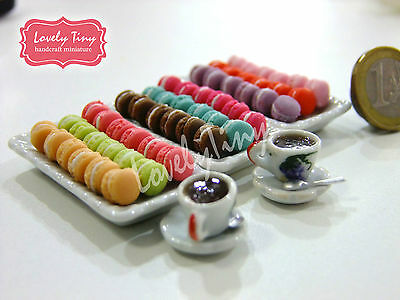 Special Set Of Miniature Macaroons(54pcs. 9 colrs) And 2 coffee cups with spoons
