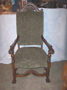 Walnut-Carved-Armchair-Parlor-Chair-Entry-Chair-green-print-chenille-AC125