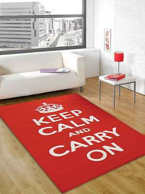 """Keep Calm and Carry On Design Washable Rug in 100 x 160 cm (3'3"""" x 5'3"""") Carpet"""