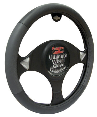 Black & Grey Soft Real Genuine Leather Car Cars Steering Wheel Cover Glove #10
