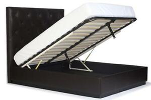 Queen Size Gas Lift Storage Bed. Diamond Tufted Genuine Leather Bed.