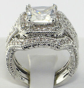 Image Is Loading Elite Vintage 4 Ct Princess Cut Cz Bridal