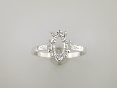 Marquise Split Shank Solitaire Ring Setting Sterling Silver