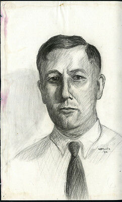 1926 Graphite on Paper Portrait Drawing of Man by Bill A. Lundy