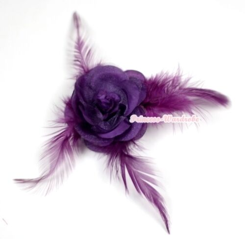Noble Option Sparkle Rose Flower Corsage Hair Pin Clip With Feather For Headband