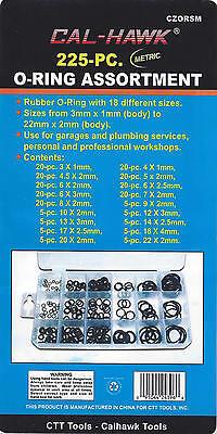 225pc O-Ring Rubber Assortment METRIC Kit Tools Hydraulics Air Gas HVAC NEW