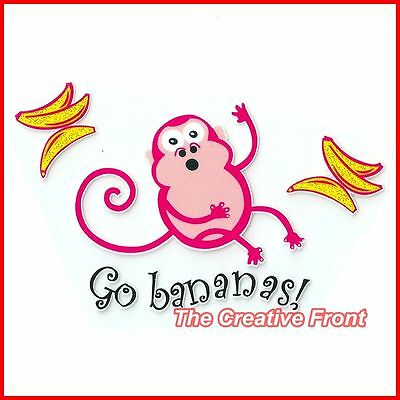 Go Banana! Cute Pink Monkey- DIY Iron On Glitter T-Shirt Heat Transfer - NEW