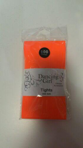 DANCING GIRL OPAQUE LADIES 100 DENIER NEON TIGHTS 80S FANCY DRESS PARTY PINK