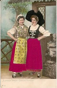 Two-Women-With-Silk-Applique-Clothing-Novelty-Postcard