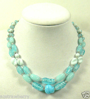 VINTAGE JAPAN MULTI BLUE COLOR GLASS BEADS 2 STRANDS NECKLACE CLASP $0 SHIPPING