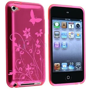 Pink-Flower-Butterfly-Rubber-Case-Skin-Cover-For-Apple-iPod-touch-4-4G-4th-Gen
