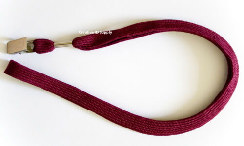LOT 100 NECK STRAPS LANYARD WITH BULLDOG CLIP 100 CLEAR VINYL ID BADGE HOLDERS