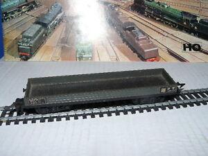 TRAIN-ECHELLE-HO-JOUEF-WAGON-TYPE-PLAT-A-BORD-BAS-A-BOGIES-GRIS-au-1-87-eme