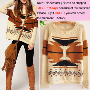 Women-Aztec-Knitted-Scoop-Neck-Geometric-Print-Jumper-Sweater-Pullover-Knitwear
