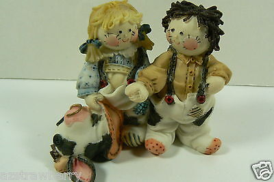 Enesco 1994 Cute As A Button Horse Cow Couple Figurine ~L@@K~ 187666