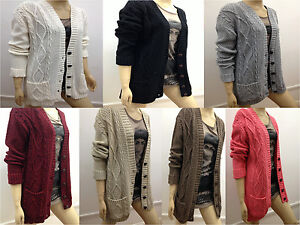 New-Elegant-Womens-Grandad-Style-Cable-Knitted-Ladies-Cardigan-Long-Sleeve