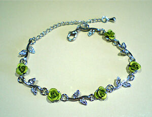 GORGEOUS-SILVER-TONE-ROSE-AND-CRYSTAL-BRACELET-VARIOUS-COLORS