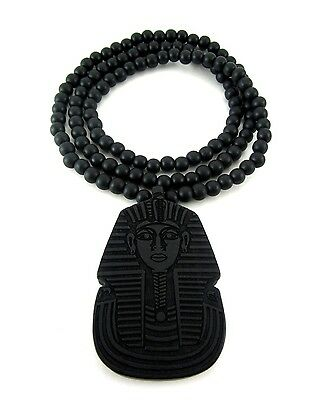 """Wooden Pharaoh King Tut Pendant Piece 36"""" Chain Necklace Good Quality Wood Style"""